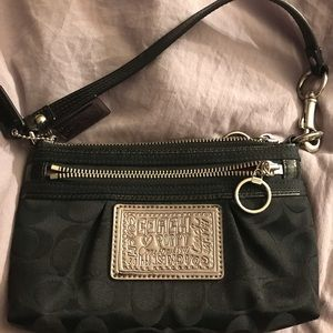Black Coach Poppy Wristlet